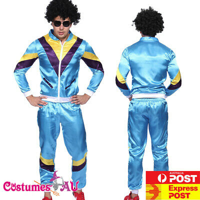Mens Retro Neon 80s Height Fashion Costume Scouser Tracksuit Blue Shell Suit