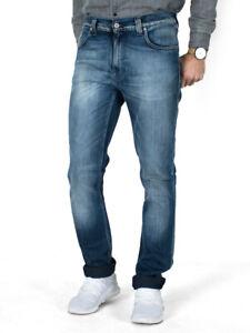 Nudie-Herren-Slim-Fit-Stretch-Jeans-Hose-Thin-Finn-Black-Weft-Indigo-Used-Look