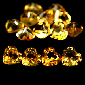3.28 Carats 14pcs NATURAL Light Golden Yellow CITRINE Heart for Jewelry Setting