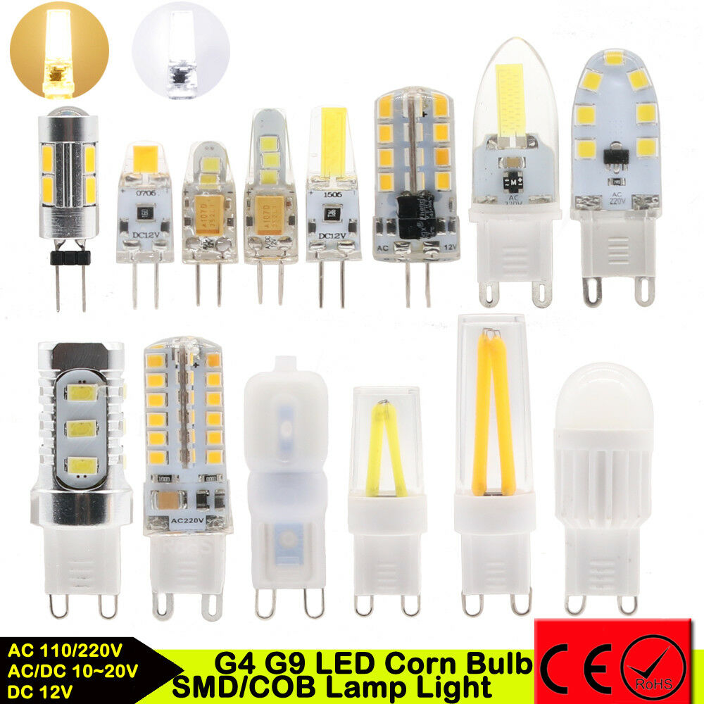 10pc G4 G9 Dimmable LED 3W 5 7W 9W Silicone Crystal SMD COB Lamp Light Corn Bulb