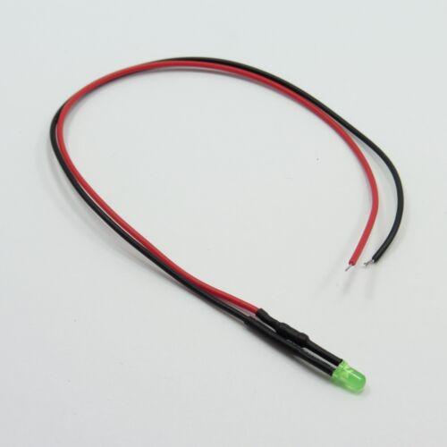 3 Mm difusa 12v Led Diodo Luz con 20cm Cable de línea de señal de luz