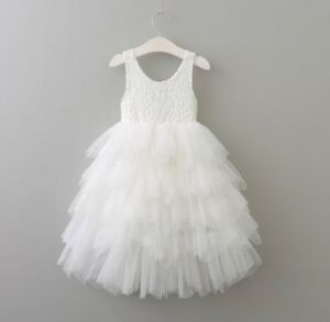 Baby-Girls-Flower-Girl-Lace-Open-Back-Tulle-Long-Dress-Birthday-Party-Wedding