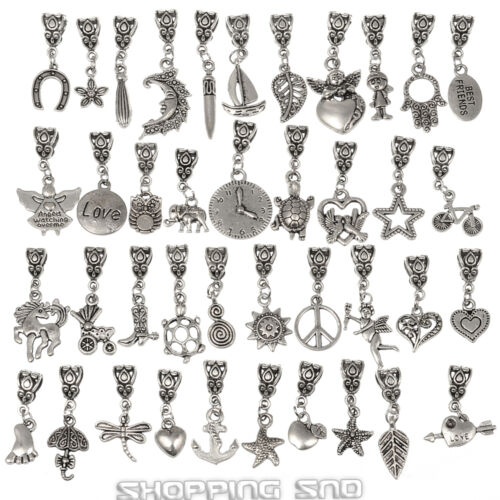 Lots Tibetan Silver Mix Dangle Charm Fit European Bracelet Bails Beads Pendants