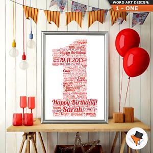 1st Personalised Birthday Gifts Present Birthday Print Girl Boy Frame 1 First
