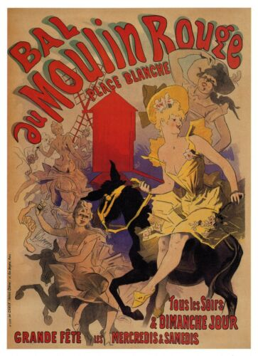 ART NOUVEAU vintage print poster painting MOULIN ROUGE old France