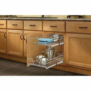 Details About 2 Tier Wire Pull Out Drawer Basket Kitchen Cabinet Under Sink Storage Organizer
