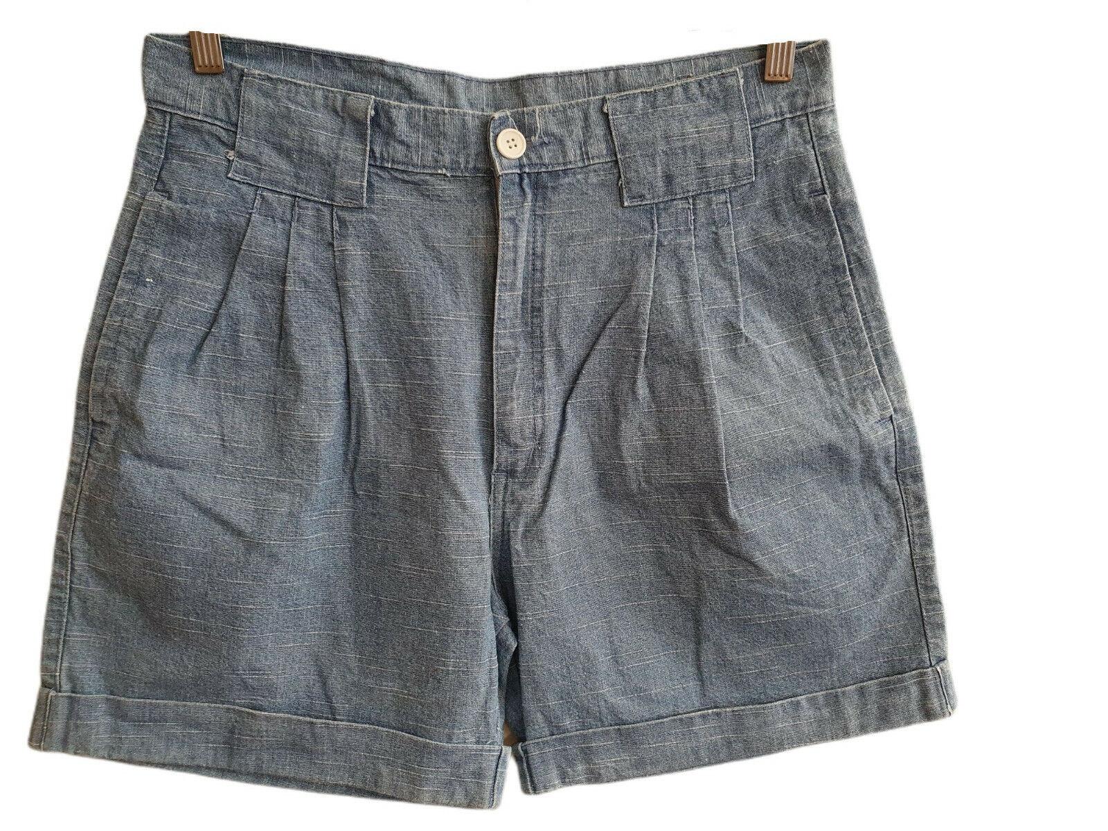 80s 90s Vintage Shorts in Leinenoptik mit Bundfalte Größe 44 (V8070)