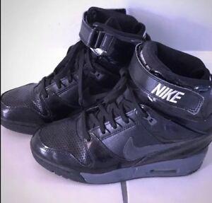 b5ba02c349a NIKE Dunk Sky Hi RARE ALL Black Leather Hidden Wedge Sneakers Womens ...