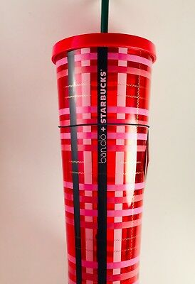 NEW Starbucks 2018 Holiday Ban.Do Plaid Venti Cold Cup 24oz Limited Edition
