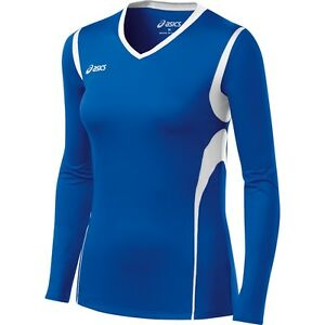 Asics-Women-039-s-Mintonette-LS-Volleyball-Top-Tee-Shirt-Royal-White-Size-Large