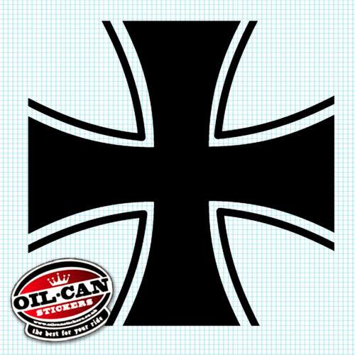 BLACK IRON CROSS MALTESE STICKER 85mm x 85mm euro VW hotrod DECAL
