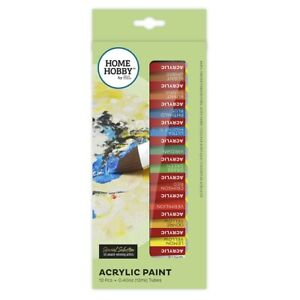 HOMEHOBBY-by-3L-12x-colour-Acrylic-Paint-Tubes-Fast-Drying-excellent-Quality