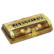 Vinatge authentic hand made camel bone box with brass letters made in Jerusalem
