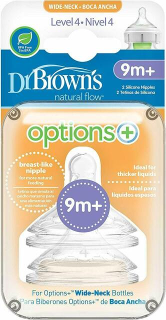 Baby Wide Neck Anti Colic Soft Silicone New Dr Brown/'s Options Level 4 Teats 9M