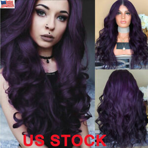 Fashion-Women-Long-Purple-Hair-Full-Wig-Natural-Curly-Wavy-Synthetic-Hair-Wigs