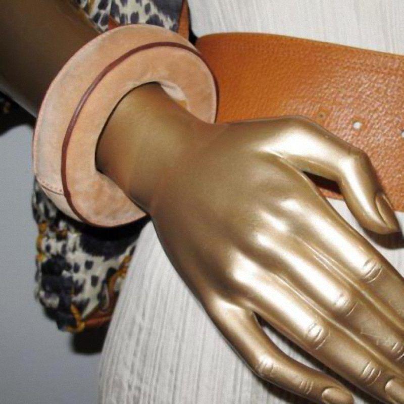 HERMES Beige Suede Bracelet DOBLIS BEBI Unisex Small Sold Out NEW