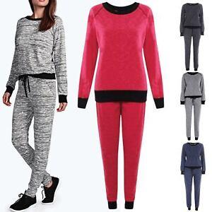 Womens Sweatshirt Fleece Top Bottoms Ladies Marl Melange Jogsuits Tracksuits