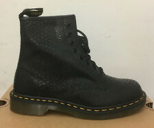 DR. MARTENS 1460  BLACK HI SHINE SNAKE   LEATHER  BOOTS SIZE UK 9