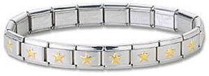 Wholesale-Lot-24-Italian-Charm-Bracelets-Stainless-Steel-Gold-Plated-Star-Links
