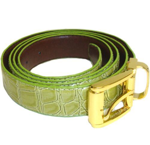New Leatherette Men/'s Belt adjustable strap length sage green croco print