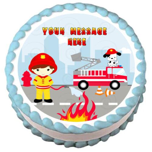 FIREMAN Birthday Image Edible cake topper