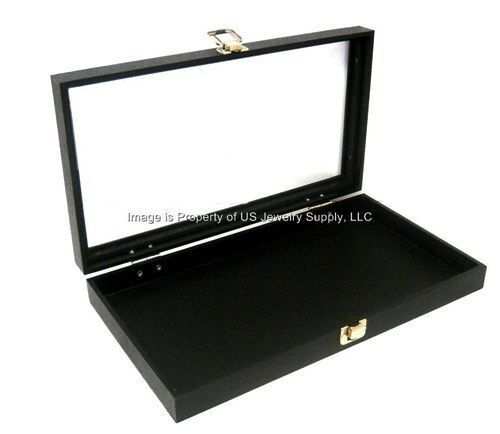2 Black Glass Lid Top Utility Display Storage Sales Box Cases with Black Pads