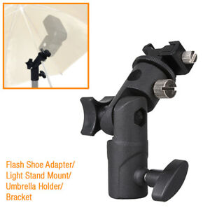Flash-Shoe-Adapter-Swivel-Light-Stand-Mount-Umbrella-Holder-Bracket-E-Type