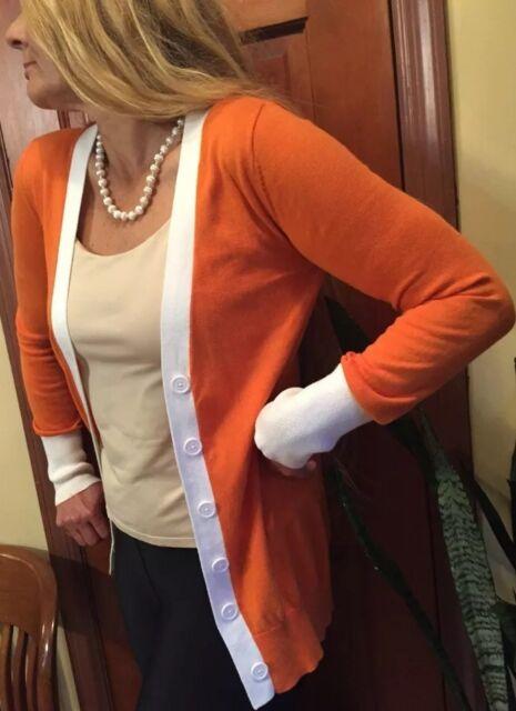 1950's ROCKABILLY Cotton Orange White Trim Long sleeve Button Cardigan Size M