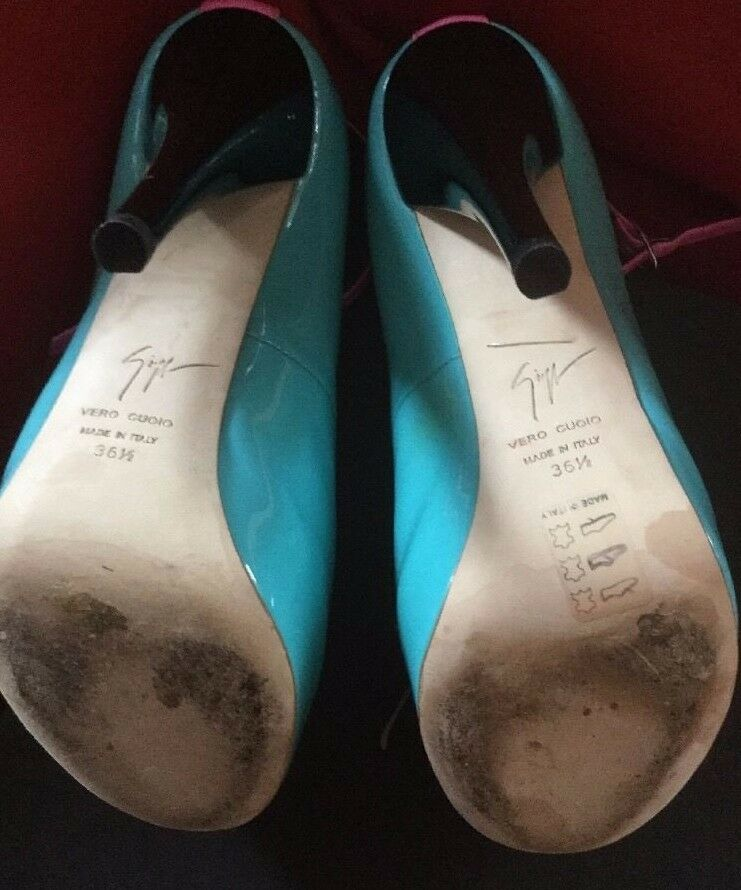 WORN ONCE Giuseppe Zanotti Sharon open-toe turquoise platforms 36.5 36.5 36.5 US6.5 2a76da