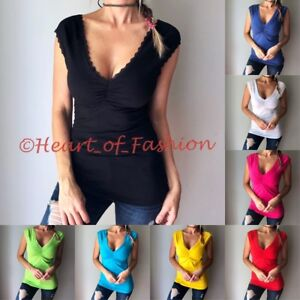 SEXY-Basic-Sultry-Low-Cut-Plunge-Deep-V-Neck-Lace-Trim-Cap-Sleeve-Tank-Top-Shirt