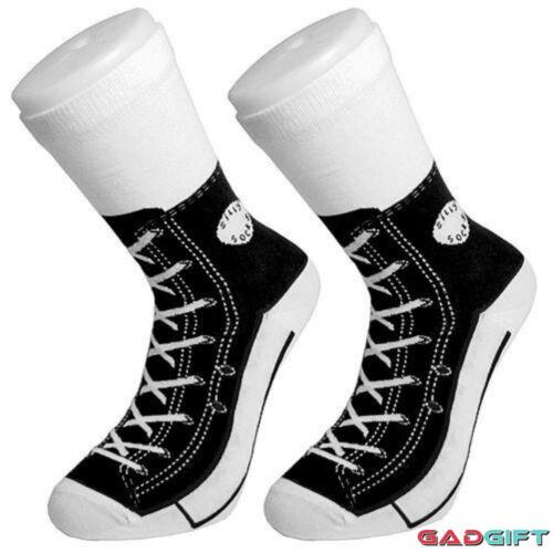 Silly Socks Nero Novità Divertente Caldo Converse Sneaker Calzini Stampa Scarpa Kids 1 - 4