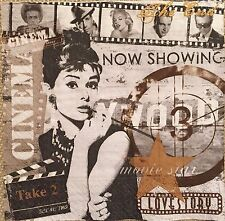 2 single paper napkin decoupage collection Retro Audrey Hepburn Cinema Hollywood
