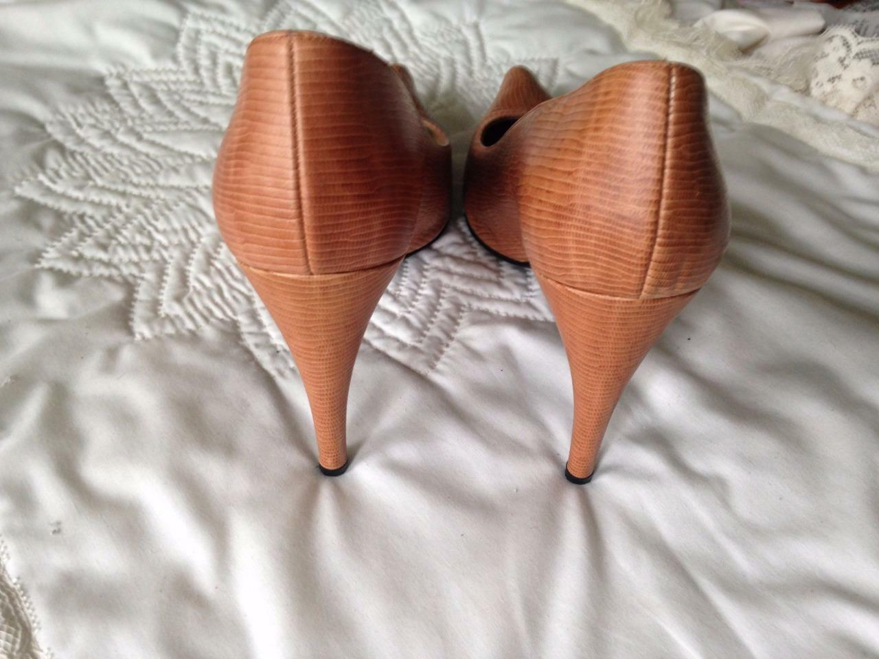 Charles Jourdan Leather 8 1 2 Medium Tan 4 Inch Inch Inch Heels Pointed Toes Animal Print 0f8a58