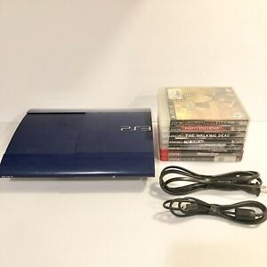 Sony-PlayStation-3-Super-Slim-PS3-250GB-Azurite-Blue-8-Games-Authentic-Tested