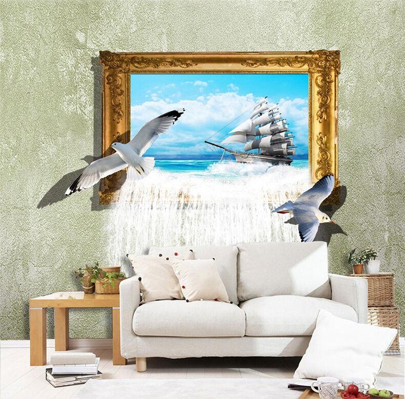 3D Sea Bird Boat Photo 724 Wall Paper Wall Print Decal Wall AJ WALLPAPER CA