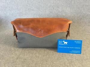 Handmade-Buffalo-Leather-Canvas-Toiletries-Wash-Bag-WASH2-Billy-Goat-Designs-YKK