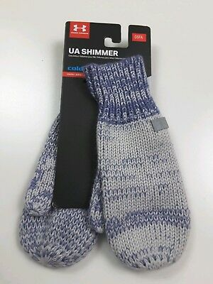 NWT UNDER ARMOUR ColdGear Shimmer Knit Yth Girls Mittens-OSFM @$20 GRAY//PURPLE