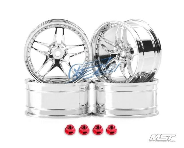MST Silver FB RC 1/10 Drift Car Wheels offset 5 (4 PCS) 102060S New