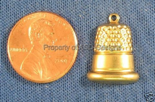50pc Raw Brass Sewing Finger Thimble Charms 4234