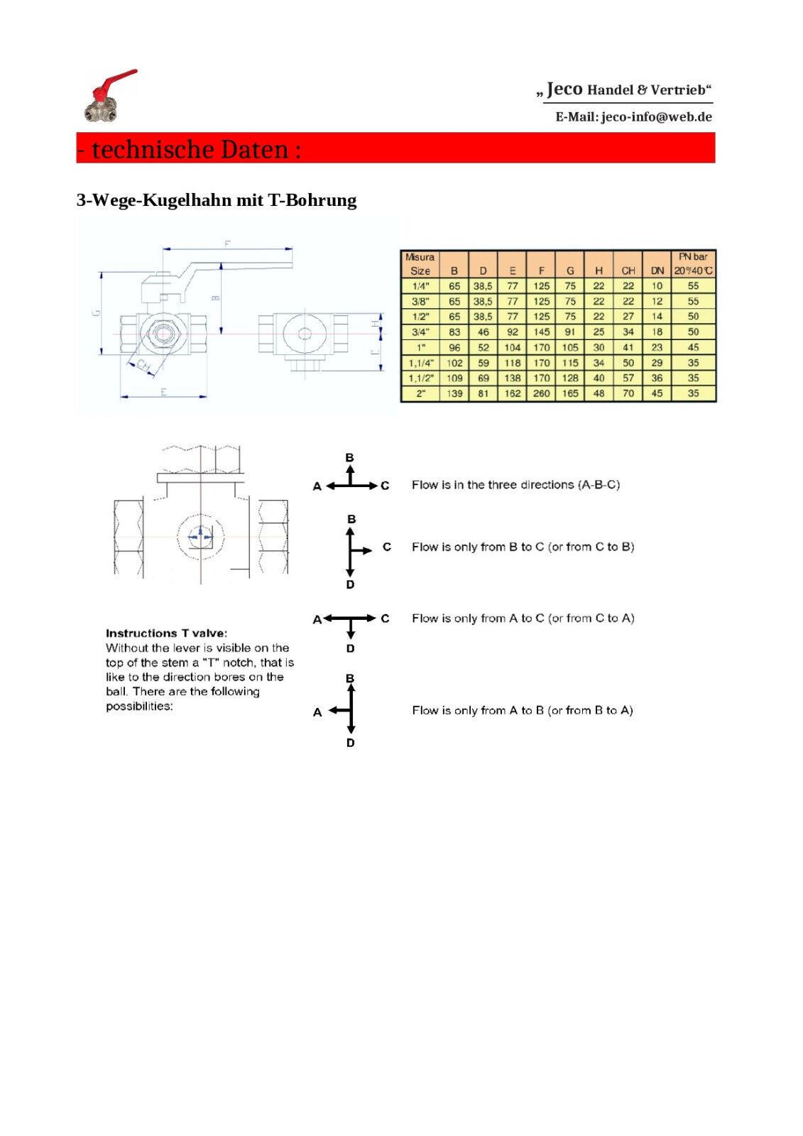 Details zu 3-Wege-Kugelhahn mit T-Bohrung, 3-Wege-Ventil, Dreiwege-Kugelhahn von 1/4 bis 2\