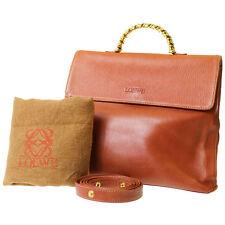LOEWE Logos Hand Bag Blood Orange Leather Spain Vintage Authentic #8045 M