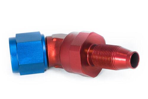 AN6 JIC6 Alu-Fitting Dash 06 45° Blockwinkel Rot-Blau 9//16-18UNF