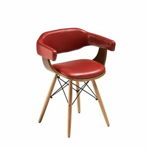 Chairclaret Red Leather Effectbeech Wood Legs Ebay