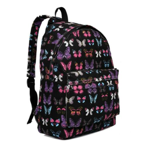 The Olive House® Butterfly Print Canvas Rucksack Backpack Bag Black