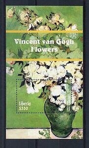 Liberia-2015-Gomma-integra-non-linguellato-Vincent-Van-Gogh-Fiori-1-V-S-S-ARTE-DIPINTI-ROSE