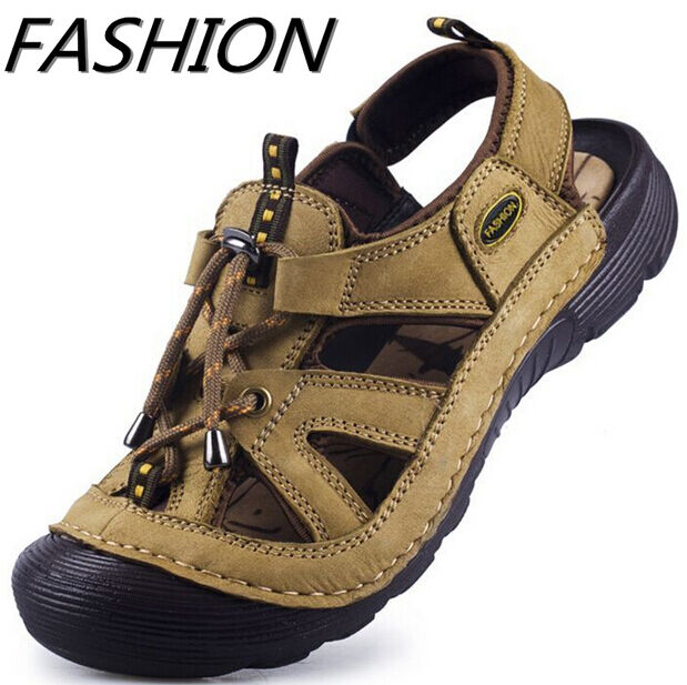 Summer Hot Men Beach Leather Sandals Casual Surf Lace Up Closed Toe Flats shoes