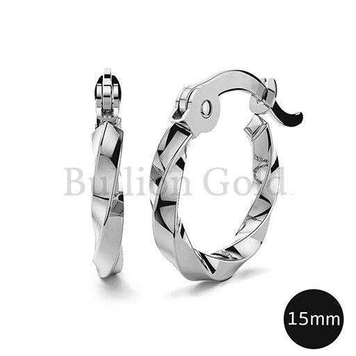 Twisted Hoop Earrings | Wg 15mm Be264wgs