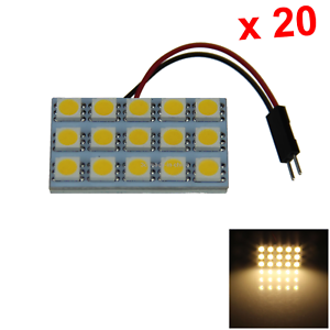 20x Warm White Car Panel Map Light Interior Blub 15 5050 SMD LED T10 festoon J00