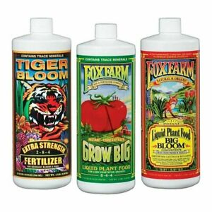 Fox Farm Nutrient Trio Soil: Big Bloom, Grow Big, Tiger Bloom 32 oz / 1Quart QT