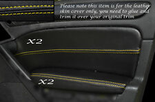 Yellow Stitch 2x ANTERIORE PORTA CARD Trim pelle copre gli accoppiamenti VW GOLF MK6 VI 08-13 e